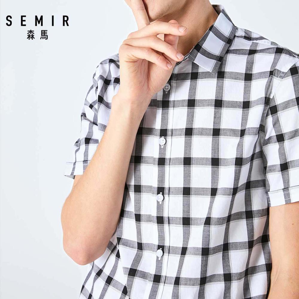 SEMIR Men Short-sleeve Shirt Men 2019 Summer New Japanese Plaid Student Shirt Casual Shirt Trend
