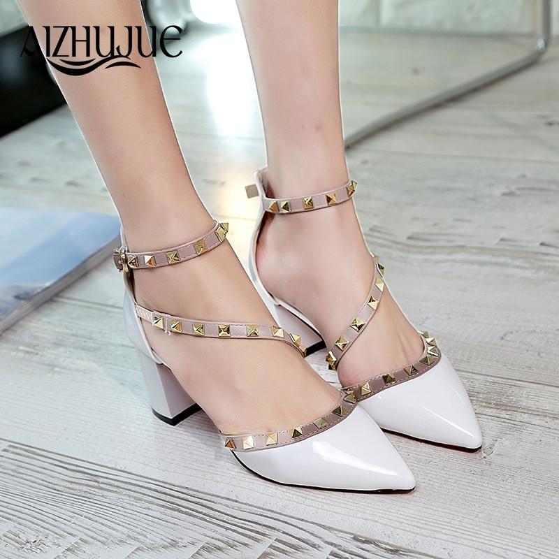 все цены на AIZHUJUE Roman Sandals Women Pumps New Style Booties Ladies Sexy Hollow Cross Lace Up Rivets Stiletto High Heels Shoes Woman