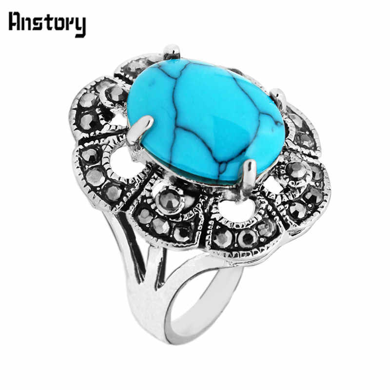 Cute Plum Flower Rhinestone Blue Stone Rings For Women Vintage Look Antique Silver Plated Fashion Jewelry TR408