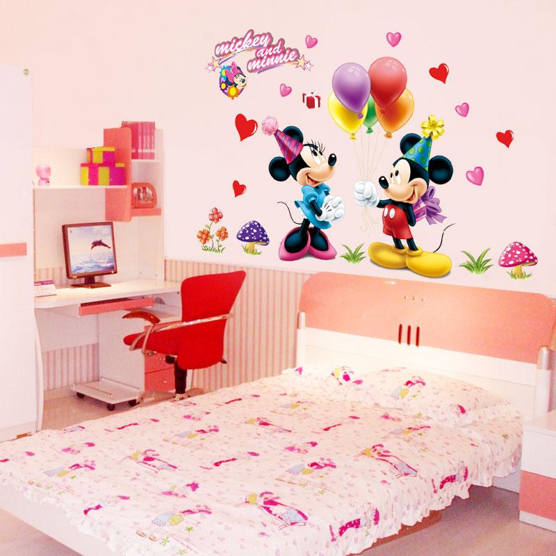 Pegatinas De Pared Murales Papel Tapiz Extra/íble Mickey Mouse Y Minnie Sticker Ni/ños Baby Nursery Room Decor Mural Decoration
