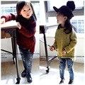 Estilo europeu Outono Moda Bebê Meninas Blusas De Malha Soltos Pullovers Casuais das Crianças Miúdo Zipper Emendado Malhas A82