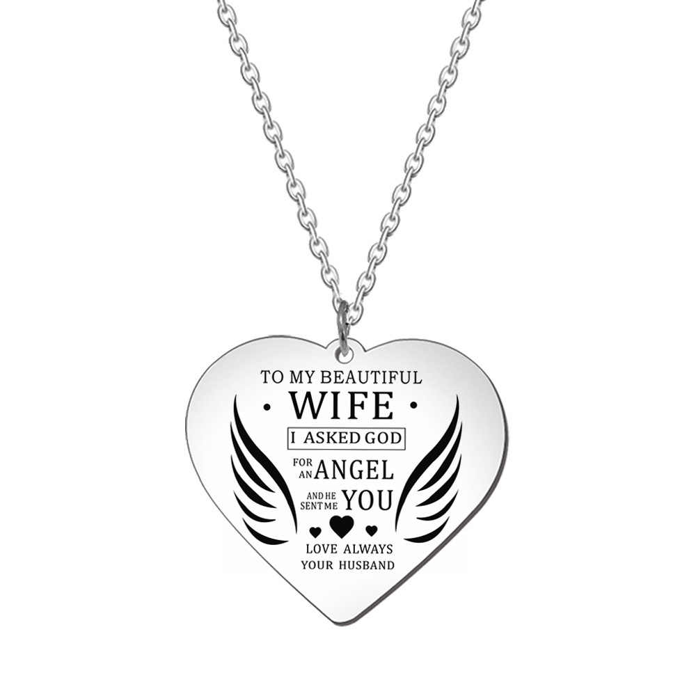 Valentiens день подарок брелки ожерелье жена муж семья ювелирные изделия кулон ожерелье из нержавеющей стали очаровательный брелок пара ювелирных изделий