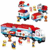 Pata patrulha brinquedos conjunto blocos de construção carro resgate móvel grande ônibus pata patrulha cão cidade deformação crianças brinquedo presentes