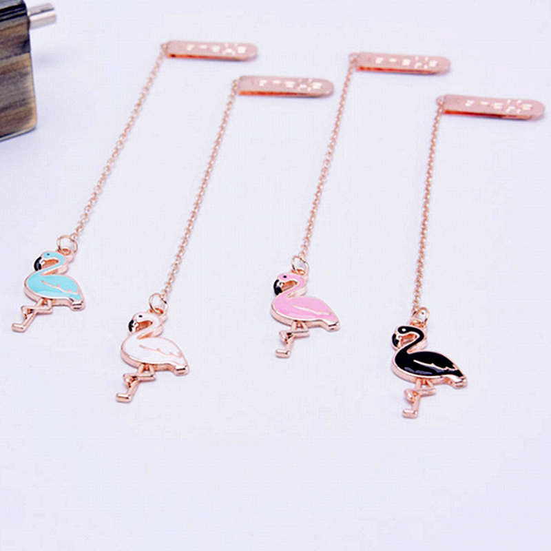 Creative Cartoon Flamingo Pendant Bookmark Cute Metal Bookmarks For Book Reading Gifts Stationery School Office Supply