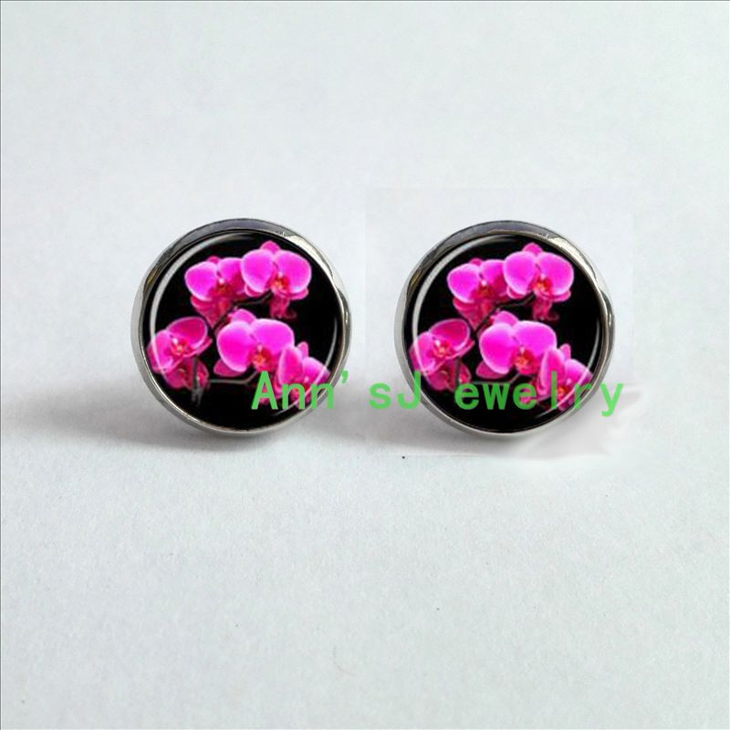 Orchid Earrings Close View