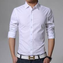 d17ff809c15 Новый 2018 Для мужчин чистый хлопковая рубашка Slim Fit Мода длинным рукавом  Повседневное Бизнес рубашки Для мужчин Мужская клас.