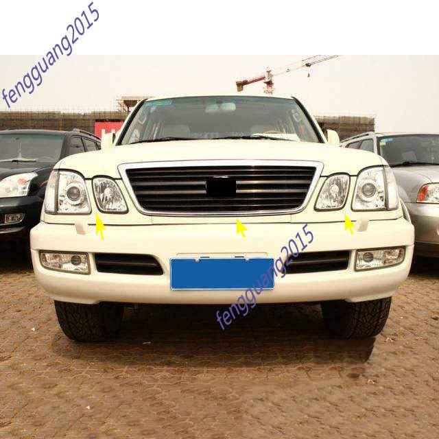 Fit For Lexus LX470 1998 1999 2000 2001 2002 Front Bumper Headlight Trim  Under Mesh Primer 3pcs/set