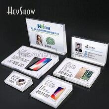 10 piezas de acrílico teléfono Etiqueta de precio, soporte de la Tablet, etiqueta de precio soporte de exhibición de los precios de los productos básicos pantalla Base transparente para tienda de venta al por menor