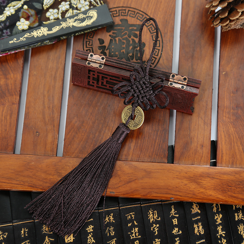 10 Pcs Polyester Chinese Knots Knotting Lucky Amulet Copper Coin Tassel Chinese Gifts Fringe Trim Pendant Decoration for Home in Tassel Fringe from Home Garden