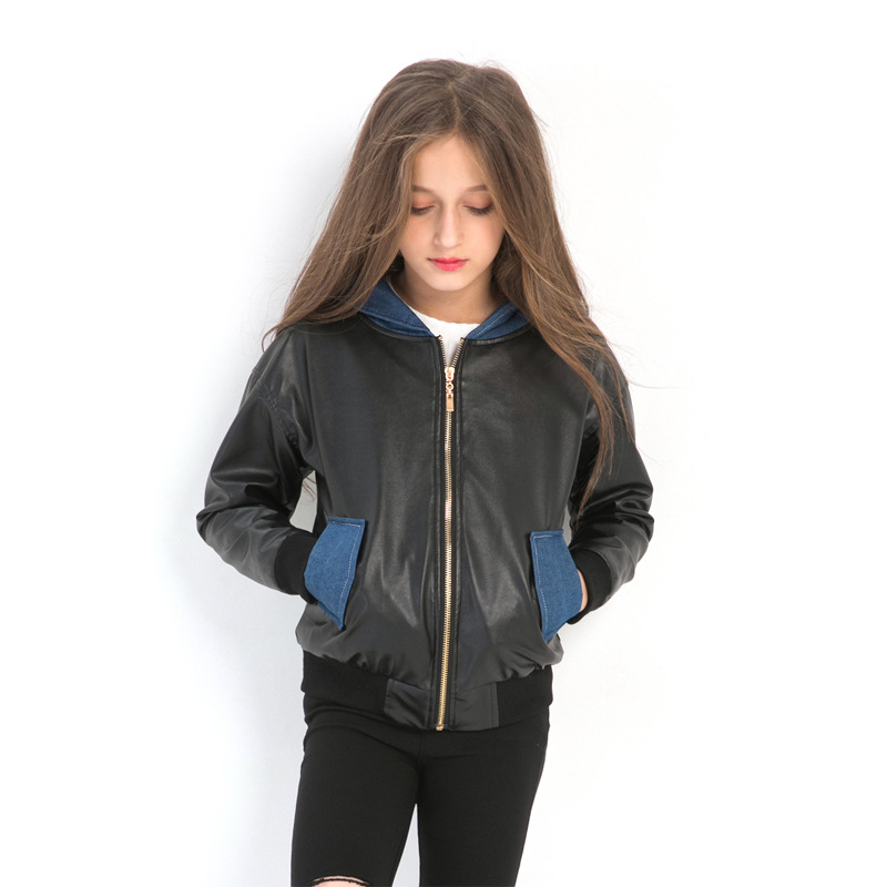 Children Outerwear European & American Style Girls Autumn Winter Hooded Jacket Stitching Denim Casual PU Leather Zipper Jackets