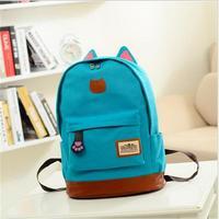 2016 Vintage Women Canvas Backpack For Teenage Girls School Bags Cartoon Cat Backpack Female Travel Bag