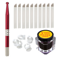 Semi-Permanent Eyebrow Makeup Tattoo Kits Set Microblading Manual Tattoo Pens + 18 Pins Needles + Ring Ink Cup + Tattoo-Ink