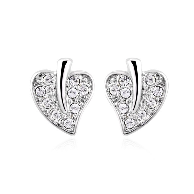 New Elegant Hot Leaf Shaped Cubic Zircon Cz Earring White Gold Color Stud Earrings For