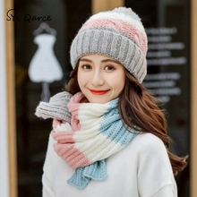 0dae0e17b1cde0 SYi Qarce 2Pcs Winter Warm Knitted Hat with Scarf Cute Knitted Sweet Thick  Set for Girl's
