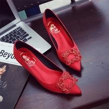 дешево!  2019 сексуальная леди кристалл пряжки острым носом атласные женщины туфли на высоком каблуке элегант