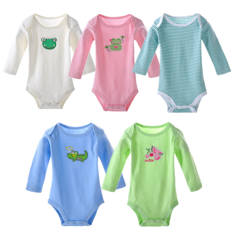 все цены на 5 pieces/lot 100% Cotton Baby Bodysuit Baby Clothing Set Infant Jumpsuits Baby Long Sleeve Underwear Boy Girl Pajamas Clothes