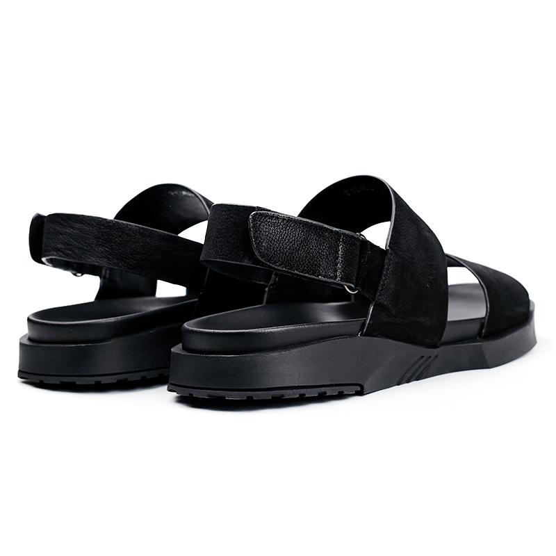Sandalias Negro fósforo gris Transpirables Casuales Británicos Para Del Zapatos Moda Todo Playa Verano Retro Hombre De Vaca Cuero Piel Genuino 4UFq1r4
