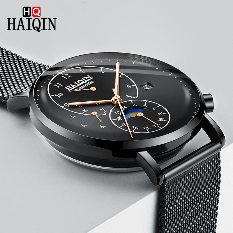 HAIQIN Automatic Mechanical Watch Top Brand Luxury Mesh Strap Waterproof Wristwatch Mens Business Casual Watch Relogio MasculinoHAIQIN Automatic Mechanical Watch Top Brand Luxury Mesh Strap Waterproof Wristwatch Mens Business Casual Watch Relogio Masculino
