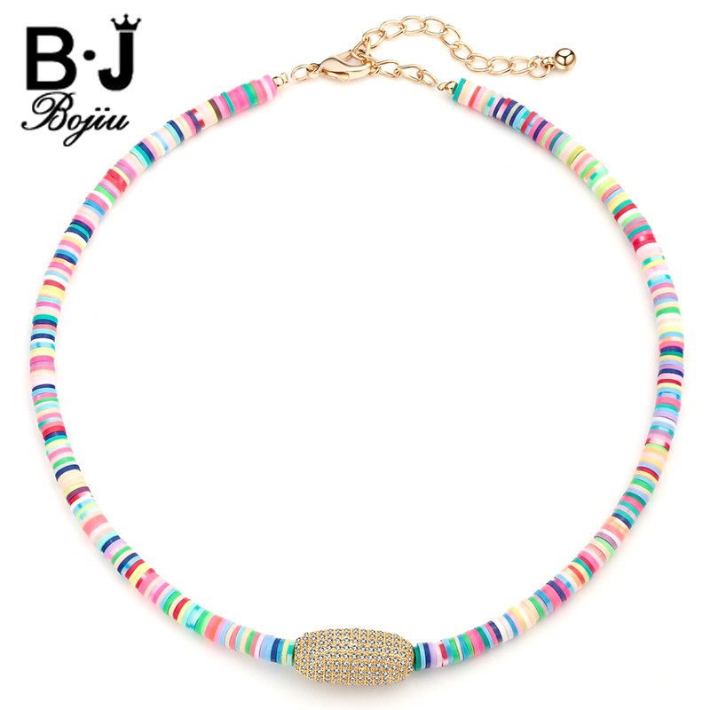 Bojiu Women Choker Necklace Colorful Young Energetic Short Chain Necklace For Girl Zircon Pendant Necklaces NKS037 stylish faux zircon tattoo choker necklace for women