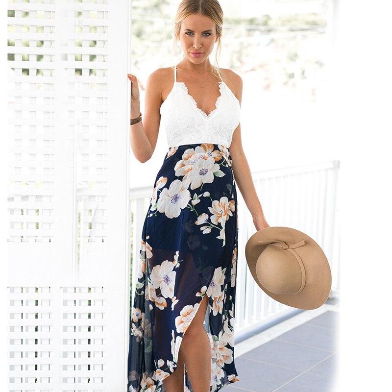 Dresses Boho Chiffon Flowers Sundress Floor Long Dress Summer Patchwork 2017 Tunic Beach Backless Ruffles Maxi Sexy Summer Dress