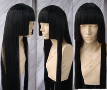 Hot heat resistant Kanekalon Party hair FREE SHIPPING>>Inuyasha Kikyo Long Three flat knife Black Cosplay Wigs