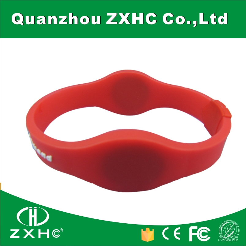 (100PCS/Lot) Dual Frequency 125 khz and 13.56 mhz RFID Personalized Silicone Wrist band With Custom Logo