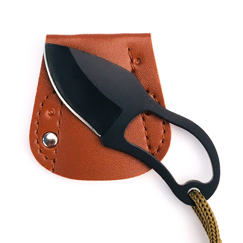 Small Portable Steel Carabiner Knife With Leather Cover Defensa Personal Outdoor Sports Camping Self Defense Tactical Equipment