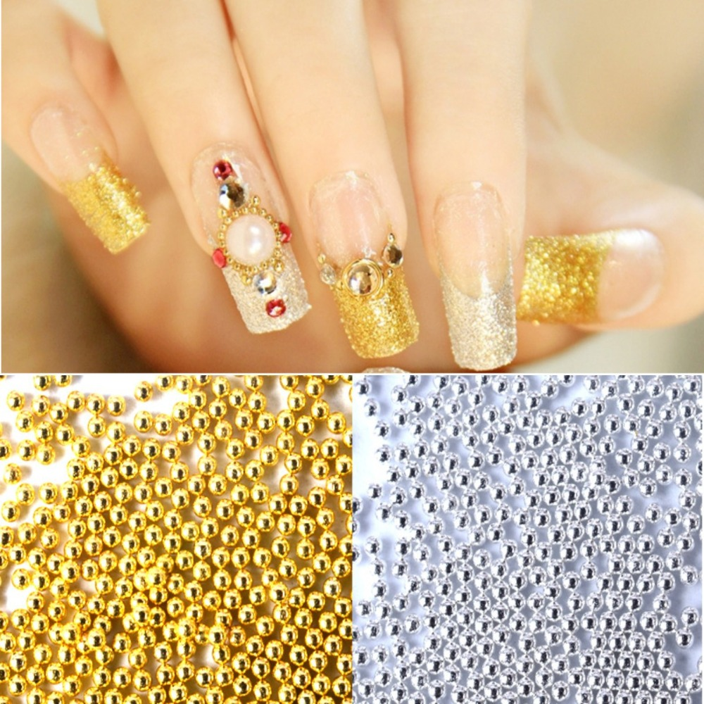 200pcs/pack Steel Mini Bead DIY Little Steel Balls Pearls Decorations Gold/Silver Metal Nail Art Rhinestone Glitter Caviar nail