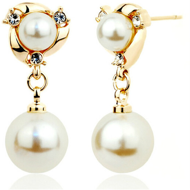 2018 New Fashion Jewelry Anti Allergy Charming Pearl Earrings for Women High Quality Gold/Silver Alloy Earrings Jewelry Gift