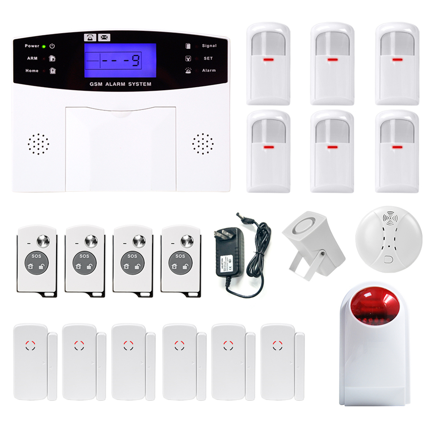 2017 Minritech Home Security GSM Alarm System Wireless/Wired SMS Burglar Voice Alarm System Remote Control Set Arm/Disarm KIT wireless remote control arm disarm detector for fuers touch keypad panel gsm pstn home security burglar voice alarm system
