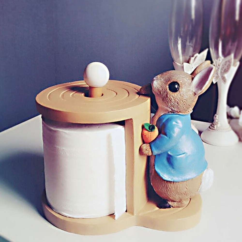Rabbit bathroom toilet living room tissue holder tube box cute creative toilet roll holder kitchen restaurant home LO67441 creative smily towel tissue plastic tube box holder blue white