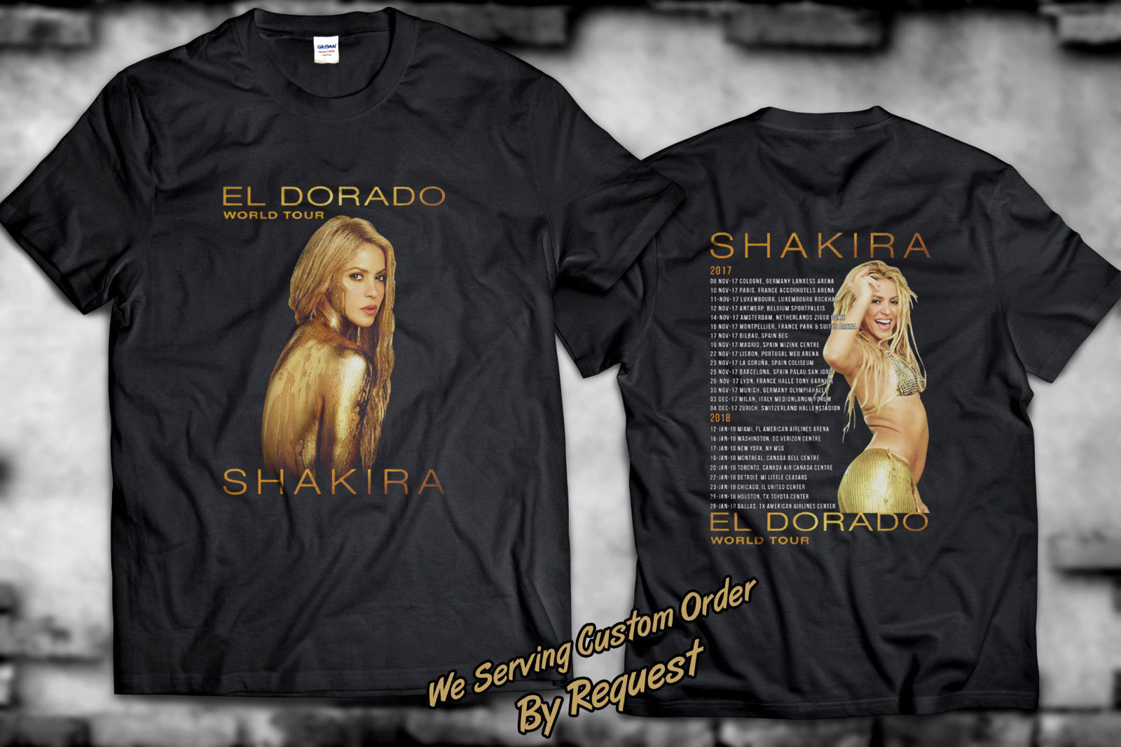 New SHAKIRA EL DORADO World Tour 2017-2018 Black T-shirt Size S to 2XL ...