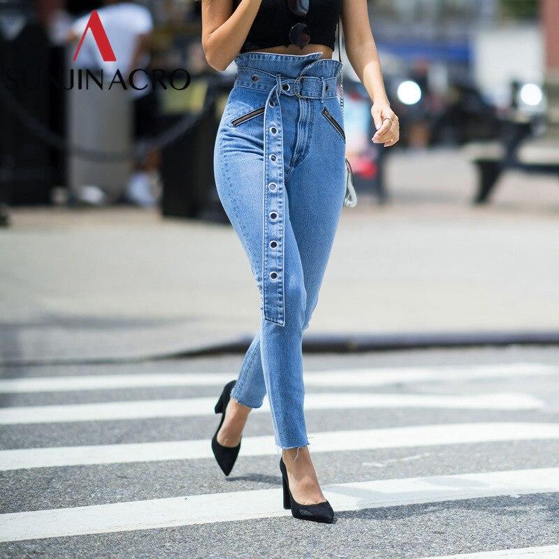 SUNJINACRO Fold-over Waist <font><b>Blue</b></font> <font><b>Jeans</b></font> Women Pants Casual Pocket Denim Harem Pants Street Wear Pencil Winter Trousers 2018