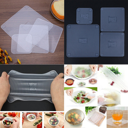 4pcs Food Fresh Keeping Saran Wrap Kitchen Tools Reusable Silicone Food Wraps Seal Vacuum Cover Stretch Lid Kitchen Accessories