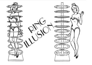 Anneau Illusion Tours de Magie Magicien Professionnel Stade Magie Gimmick Prop Mentalisme Peut Être utilisé comme une Transposition Effet Comédie