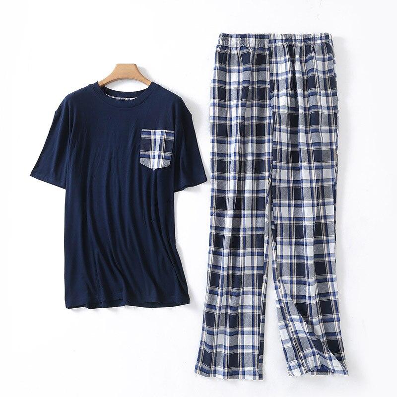 Mens Pajamas Suit Summer New Short Sleeve Plaid Pants Two-Piece Home Suit Cotton O-Neck Pijama Man Set Pyjamas Mens Sleepwear