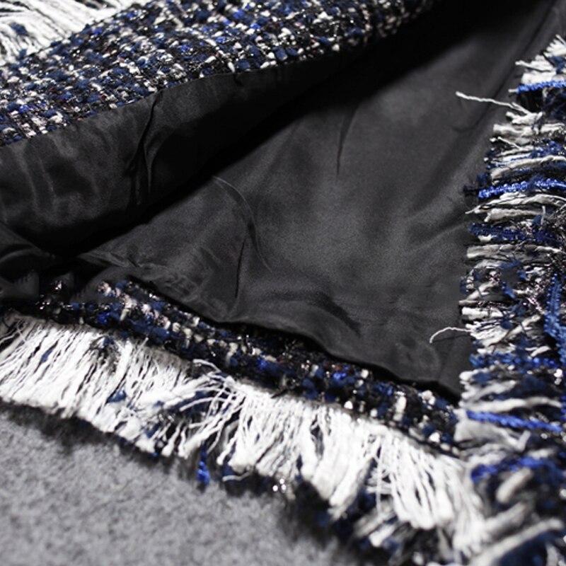 Boutonnage hiver Tweed De Dames Sauvage À Double Bleu Veste Marine Nouvelle Automne Laine Manteau Femmes wHYqSgId