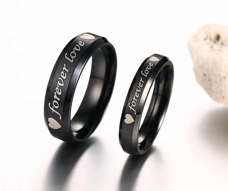 Modyle แบรนด์แหวนแต่งงาน 316l สแตนเลสคลาสสิกสีดำหมั้นแหวน
