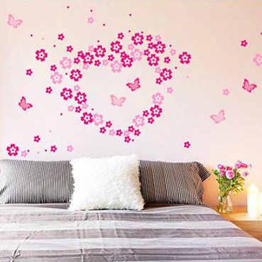 ดอกไม้ wall stick ห้องนั่งเล่นตกแต่งห้องนอนโรแมนติกอบอุ่นกันน้ำทีวีสติ๊กเกอร์ติดผนังสามารถถอดออกได้