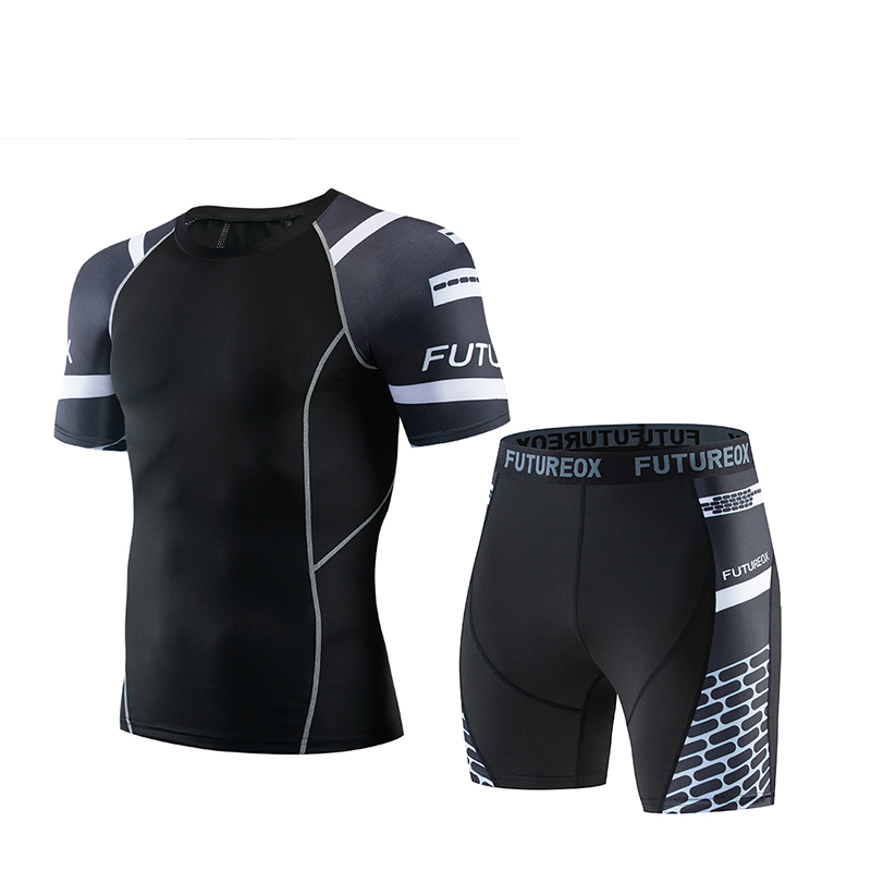 Fitness Compression Shirt T-shirt Short-sleeved + Five-point Shorts Men's Sportswear Gym Top Clothing MMA Men's Busos