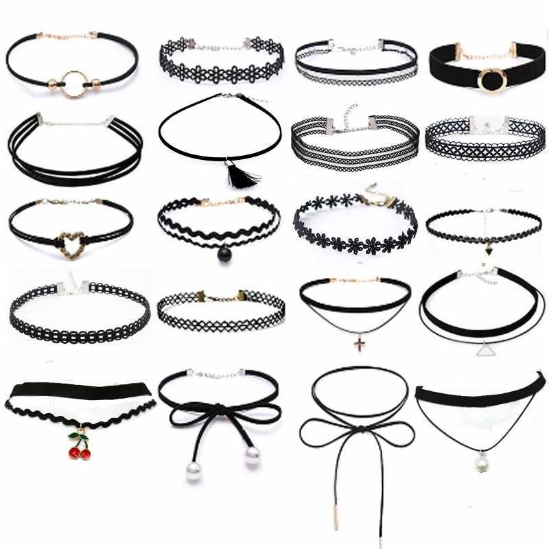 Gothic Black Lace Leather Velvet Tattoo Choker Necklaces For Women Collar Party Jewelry Neck Accessories Chokers Collares KC002