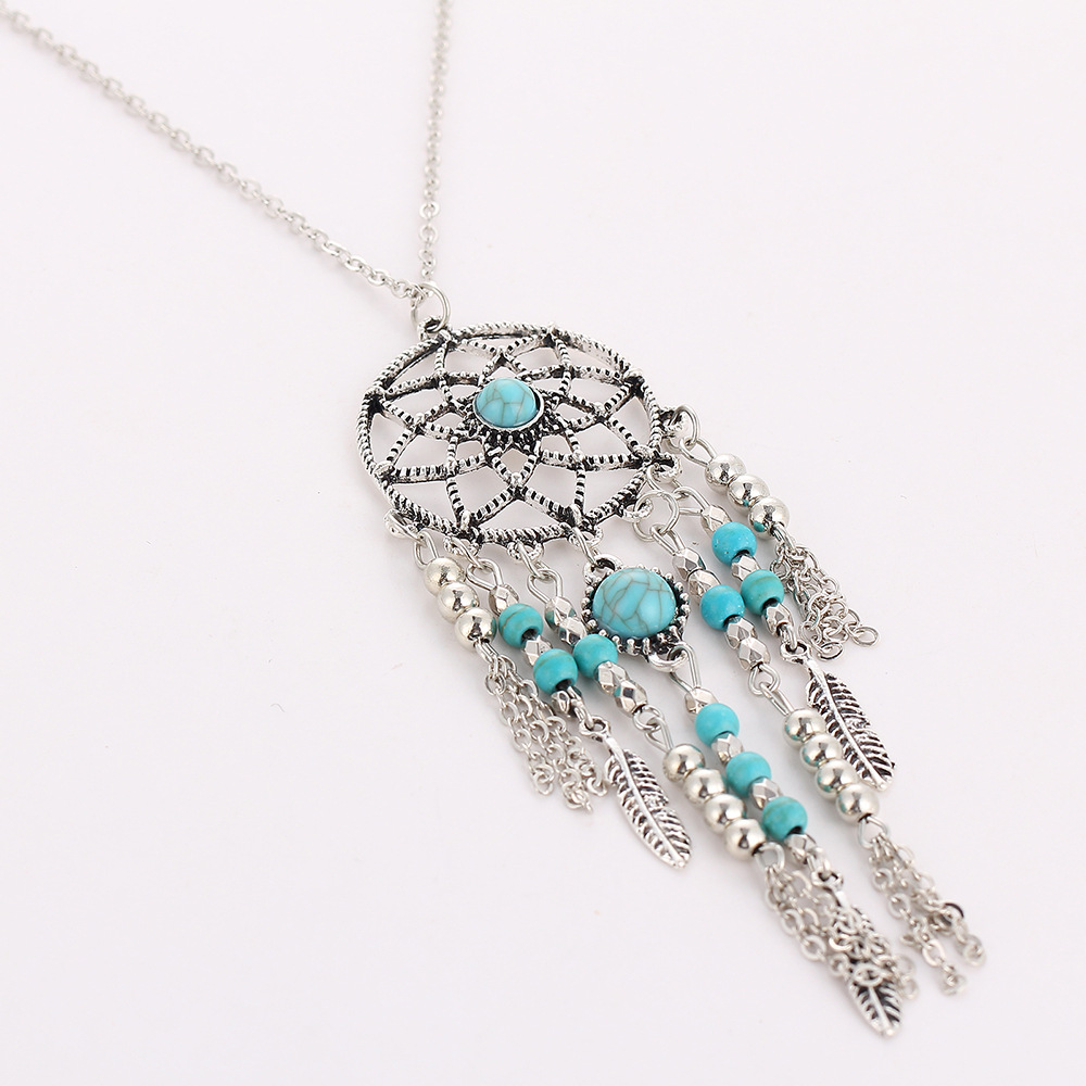 Dreamcatcher necklace feather tassels dream catcher pendant women dreamcatcher necklace feather tassels dream catcher pendant women silver color blue beads charm long sweater chain jewelry in pendant necklaces from jewelry mozeypictures Images