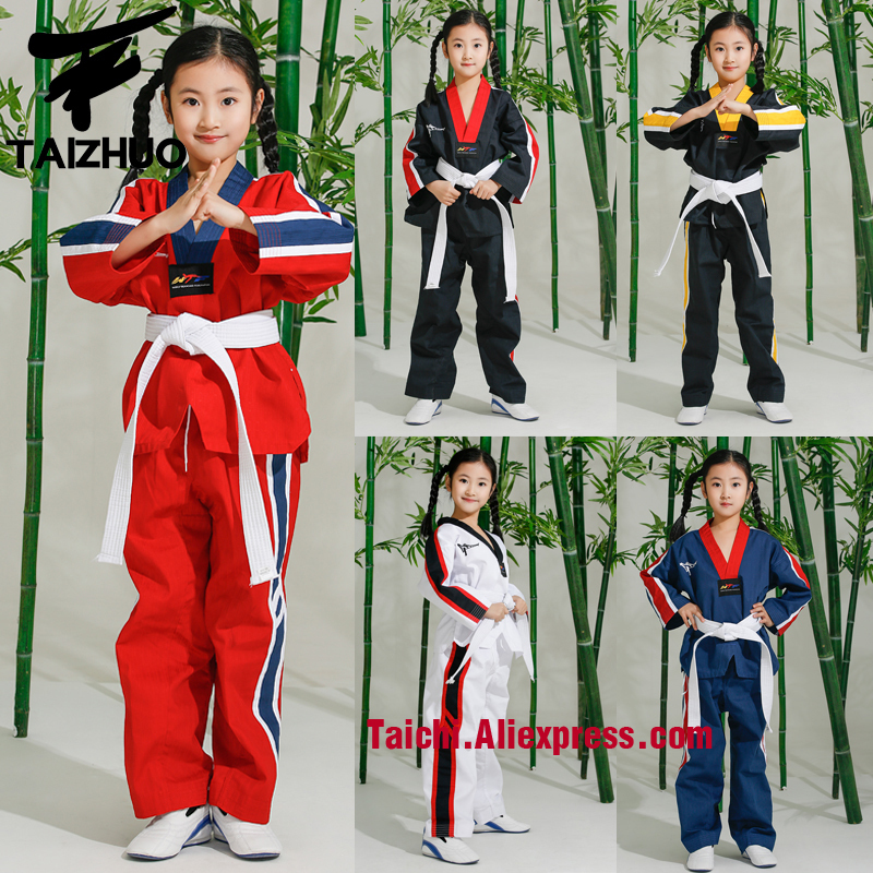 Tae Kwon Do Children Taekwondo Uinform For Poomsae & Training,WTF Uniform,110-155cm White,balck,blue,red