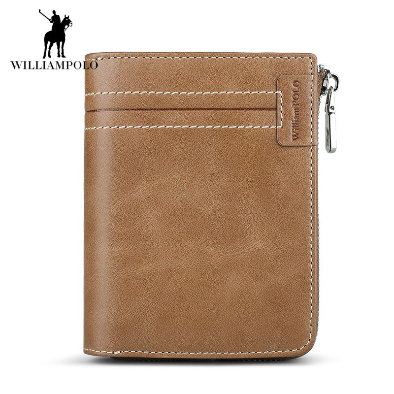 WILLIAMPOLO 2018 Vintage Wallets Men Small Genuine Leather Zipper Male Purse Cowhide Men Credit&id Multifunctional Walet POL308