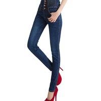2015 New Fashion Women Elastic Waist High Waist Skinny Stretch Jeans Female Spring Jeans Pencil Pants