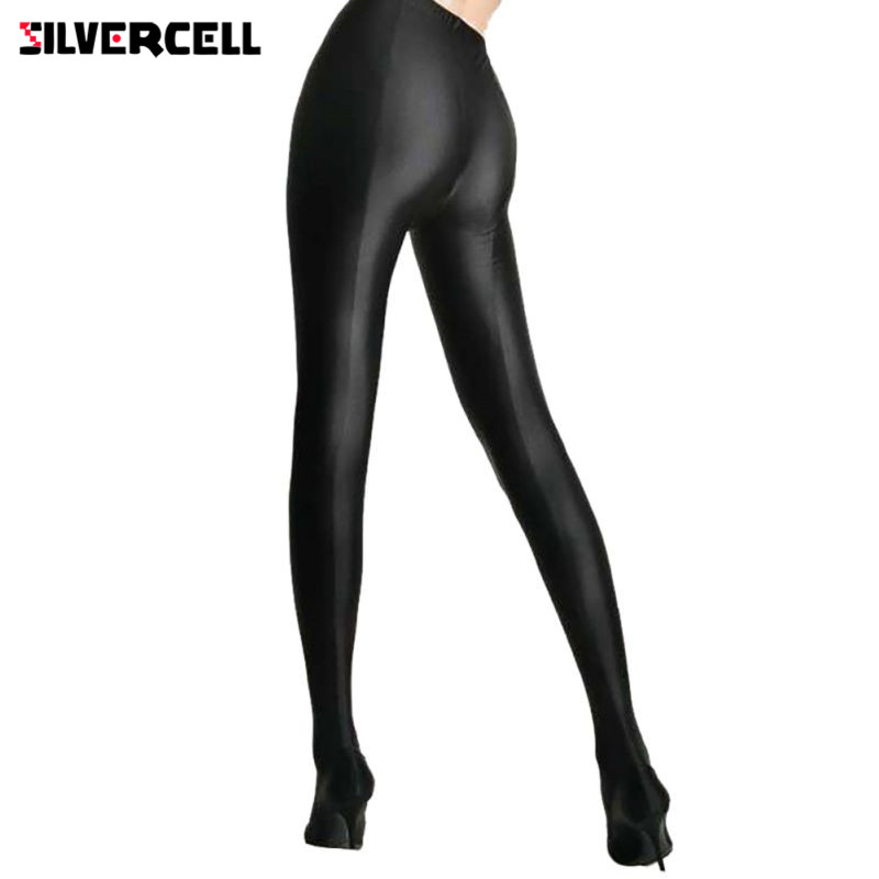 SILVERCELL Sexy Women Lustrous Black Leggings High Waist Pants Shaping Pants Leggings Chinlon High Stretch Leggings