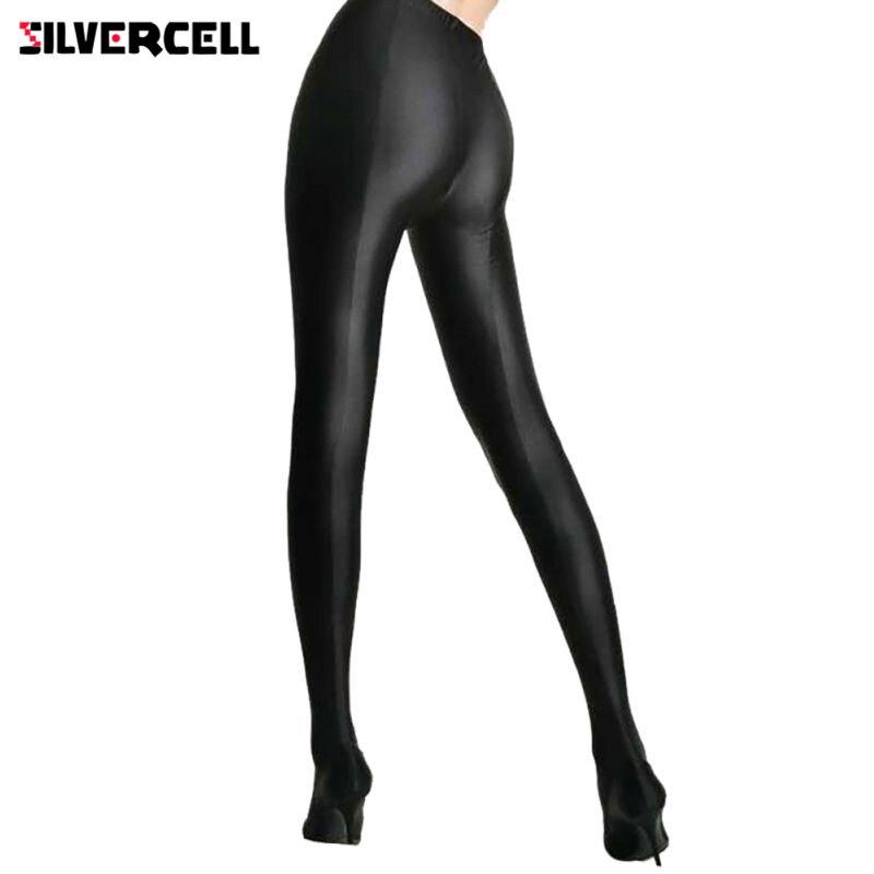 SILVERCELL Sexy Women Lustrous Black   Leggings   High Waist Pants Shaping Pants   Leggings   Chinlon High Stretch   Leggings