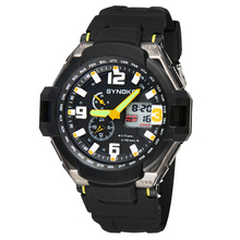 Multi Function Waterproof Double Digital Quartz Watch Men LED Sports Wrist Watch Analog Date Time Silicone Watches Reloj