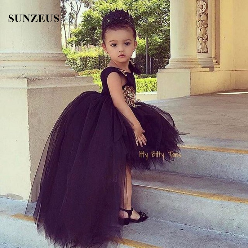 Black Flowers Girls Dress Short Front Long Back Tulle Party Dresses For  Childern High Low Puffy Kids Birthday Gown FLG006 conew 6 (2) conew1 ... 45d15044622f