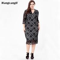 Wangcangli Europe And America Fashion Big Yard Women S V Neck Lace Dress Lace Dress For